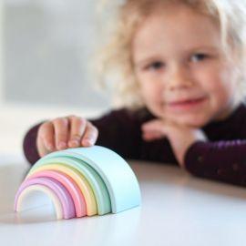 Siliconen speelset 6 Rainbow - pastel