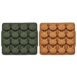 Coole set van 2 Sonny ijsblokjesvormen - Hunter green/mustard mix