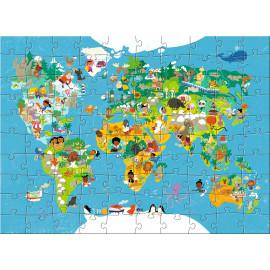 puzzel Wereldkaart (100 pcs)
